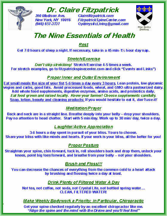 Nine Essentials of Good Health